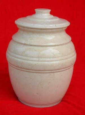 Plain White Marble Urn with Lid