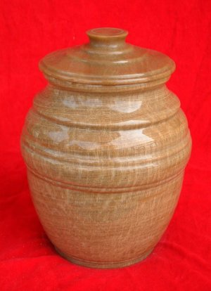 Brown Marble Urn with Lid
