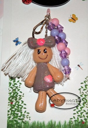 OOAK Handcrafted zipper pull  - lavender rag doll keychain