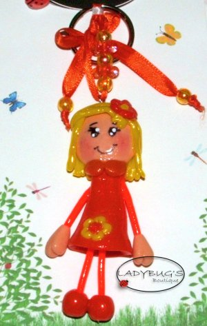 Unique Handcrafted zipper pull - Blond girl with orange dress