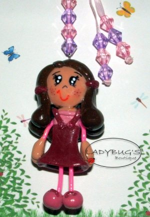 Unique Handcrafted zipper pull - Girl with purple and pink dress