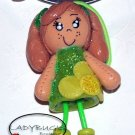 Unique handcrafted Ponytail Holder - Hairbow - Girl with green dress