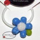 Unique handcrafted Ponytail Holder - Hairbow - Blue Flower