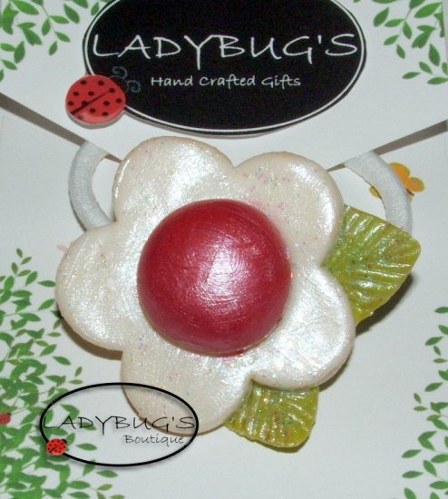 OOAK handcrafted Ponytail Holder - Hairbow - White Flower