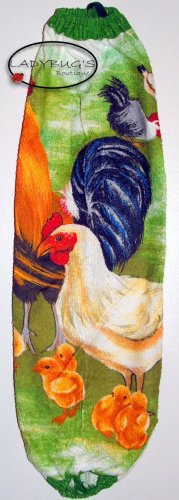 Plastic bag holder - Grocery bag recycler - Large - roosters and hens