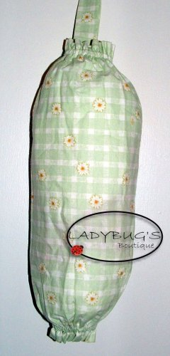Plastic bag holder - Grocery bag recycler - Small daisies on light green