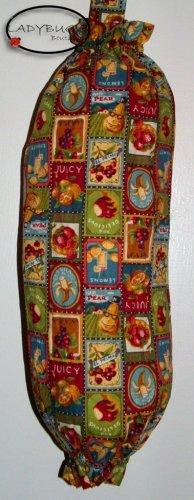 Plastic bag holder - Grocery bag recycler - Small - Vintage look fruit ads