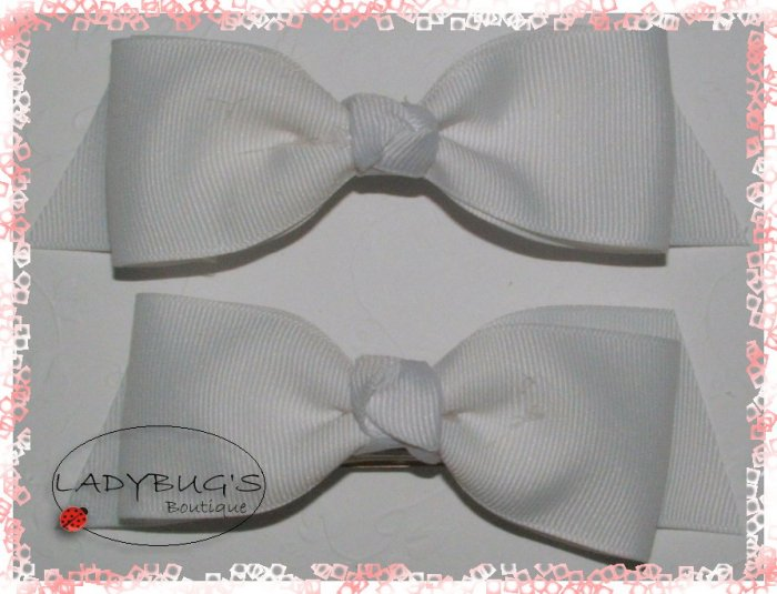 Custom Boutique hairbows - White