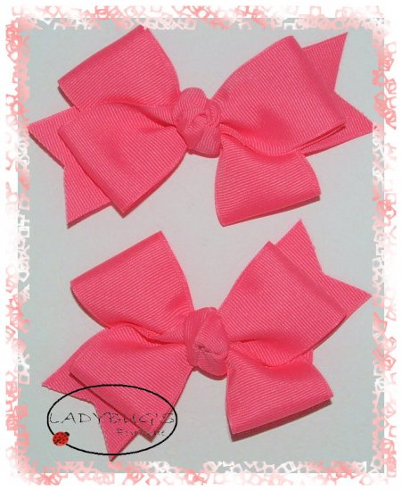 Custom Boutique hairbows - Tutti Frutti Pink - Double loop