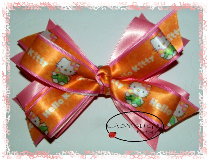 Custom Boutique hairbows - Pink - Hello Kitty