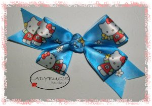 Custom Boutique hairbow - Blue - Hello Kitty