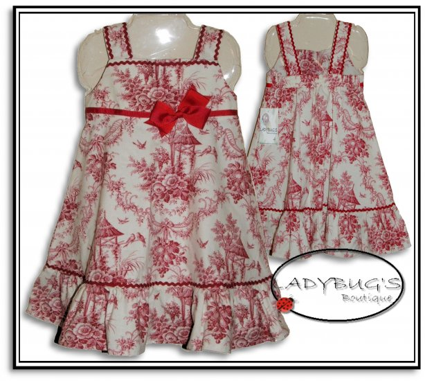 Custom Boutique dress * Red Toile Sz 4