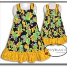 Custom Boutique dress * Black & Yellow safari Sz 5