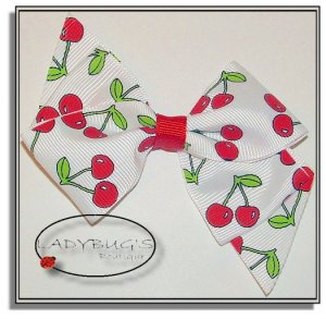 "4"" Custom Boutique hairbow - Cherries  * French Barrette"