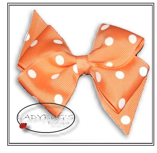 "4"" Custom Boutique hairbow - Apricot  polka dots * French Barrette"