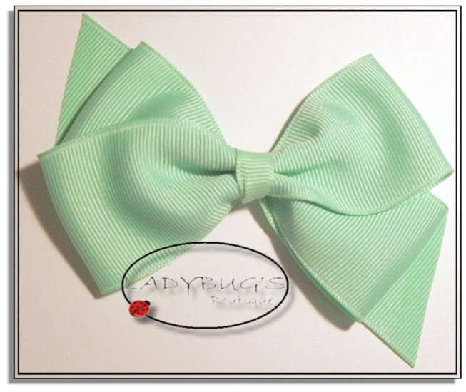 "4"" Custom Boutique hairbow - Lime green * French Barrette"