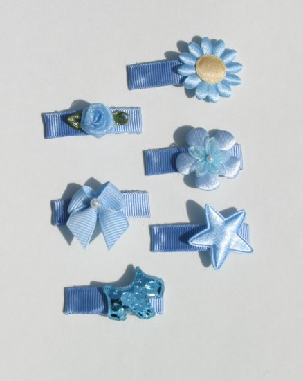 New SET 6 BOUTIQUE Baby Hair clips snaps BLUE bows Hair accessories www.absolutelydaisy.ecrater.com