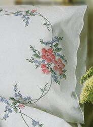 "Tobin Stamped Embroidery Pillowcase Pair 20""X30"" Wild Rose"