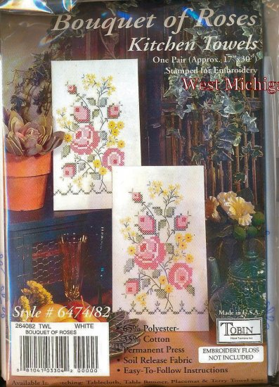 Tobin Accent Towel Pair For Kitchen 17x30 Bouquet of Roses 264082