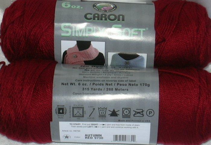 Caron Simply Soft Yarn No Dye Lot 6 oz Skein - Autumn Red 9730