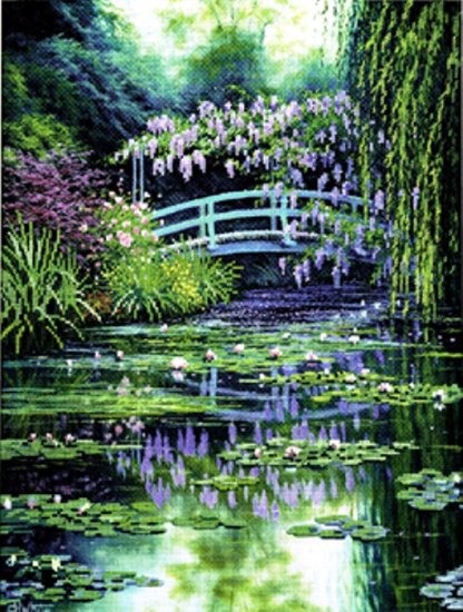 CANDAMAR Full Color Cross Stitch  - Monet's Japanese Bridge 51308