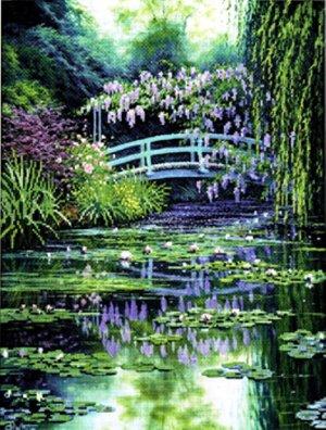 CANDAMAR Full Color Cross Stitch  - Monet's Japanese Bridge 51308