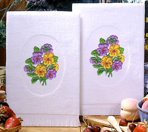 Tobin Terry Accent Towel Pair For Kitchen & Bath 16 x 25 Pansies 212720