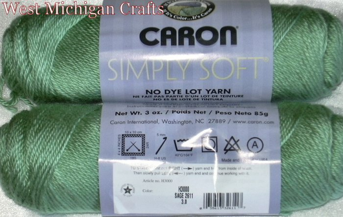 Caron Simply Soft Yarn No Dye Lot 3 oz Skeins ~ Sage 2611