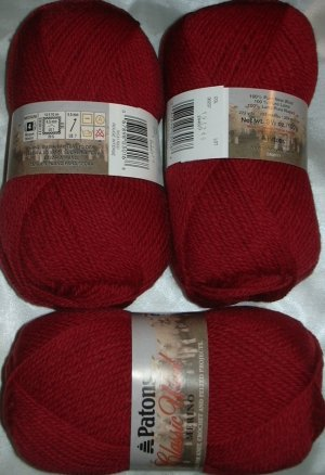 Patons Classic Wool Merino Worsted 1 Skein ~ Rich Red 207