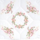 Jack Dempsey White Quilt Blocks ~ Interlocking Floral & Ribbons 732-301