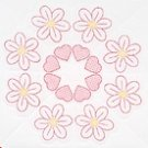 Jack Dempsey White Quilt Blocks ~ Flowers & Hearts 732-424