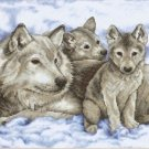 Dimensions Sunset Stamped Cross Stitch ~ Mother Wolf & Pups 13130