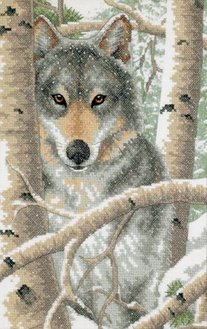 Dimensions Stamped Cross Stitch ~ Wintry Wolf 3228