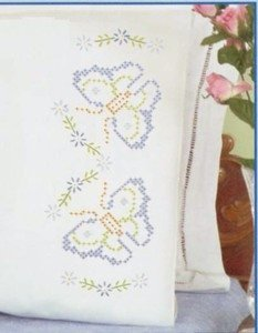 Jack Dempsey Stamped Pillowcases White Perle Edge ~ Butterflies & Daisies 1600-478