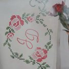 Jack Dempsey Stamped Pillowcases White Perle Edge ~ Rose Monogram 1600-393