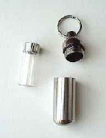 Dog Keychain Urn & Vial DISCREET pet memorial cremation