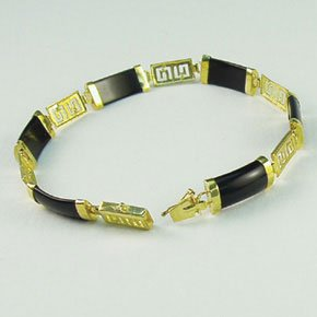 "Black onyx Greek key design 14K yellow gold sectional bracelet 7"" Asian style jewelry"