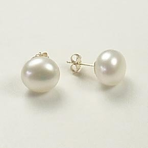 Freshwater button white pearl large round stud post earrings 14k yellow gold 10mm jewelry