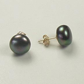 Freshwater button black pearl large round stud post earrings 14k yellow gold 10mm jewelry