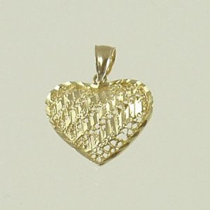 Large heart shape pendant with diamond-cut 14 yellow solid gold valentine jewelry