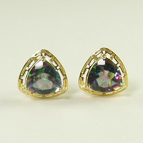 Fire mystic topaz earrings lever back omega Greek key frame triangle 14K yellow gold jewelry