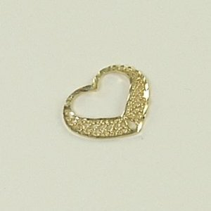 Floating heart filigree pendant with diamond-cut 14K yellow solid gold valentine jewelry