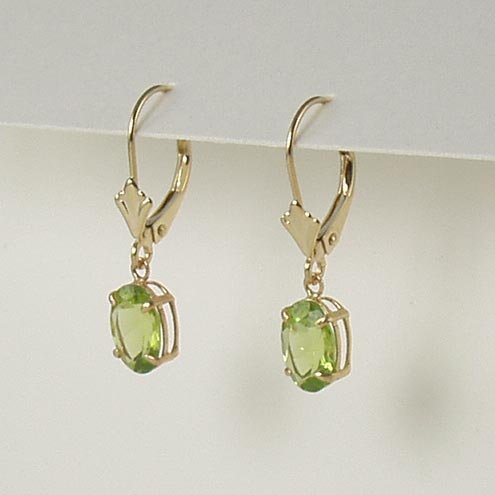 Green peridot dangle earrings 6x8mm oval lever back 14k yellow gold semi-precious stone jewelry