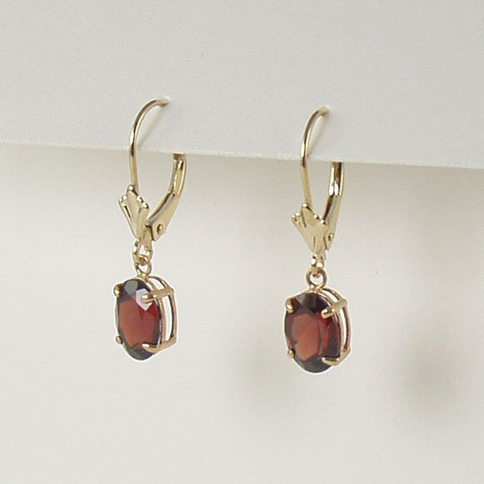 Red garnet dangle earrings 6x8mm oval lever back 14k yellow gold semi-precious stone jewelry