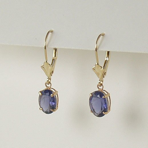 Blue iolite dangle earrings 6x8mm oval lever back 14k yellow gold semi-precious stone jewelry