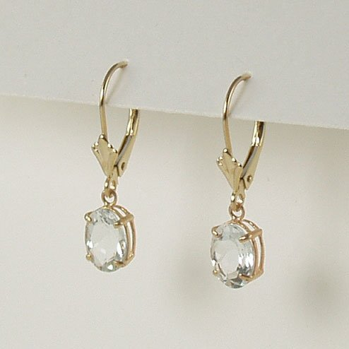 Aquamarine dangle earrings 6x8mm oval lever back 14k yellow gold semi-precious stone jewelry