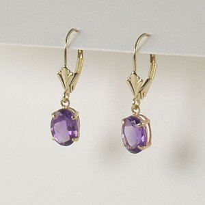 Purple violet amethyst dangle earrings 6x8mm oval lever back 14k yellow gold semi-precious jewelry