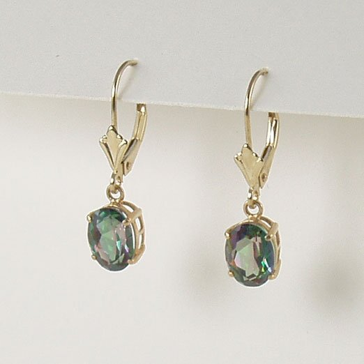 Fire mystic topaz dangle earrings 6x8mm oval lever back 14k yellow gold semi-precious stone jewelry