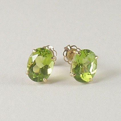 Green peridot stud post earrings 6x8mm oval 14k yellow gold semi-precious stone jewelry