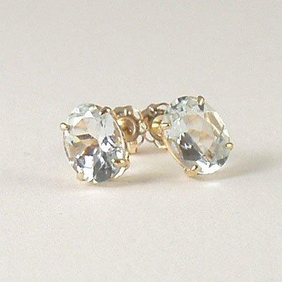 Aquamarine stud post earrings 6x8mm oval 14k yellow gold semi-precious stone jewelry